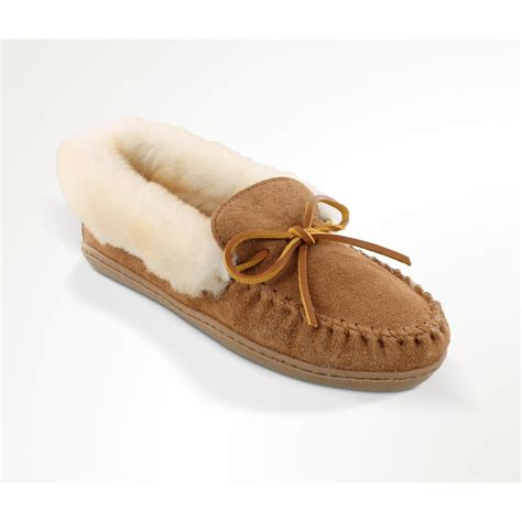 shearling moccasin slippers s minnetonka moccasin alpine sheepskin moccasin