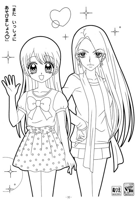 manga girl coloring pages manga anime coloring pages