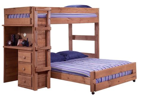 Pine Bunk Bed With Desk Rustic Style Solid Pine Loft Bed With Desk End Mahogany Stain 315020 By