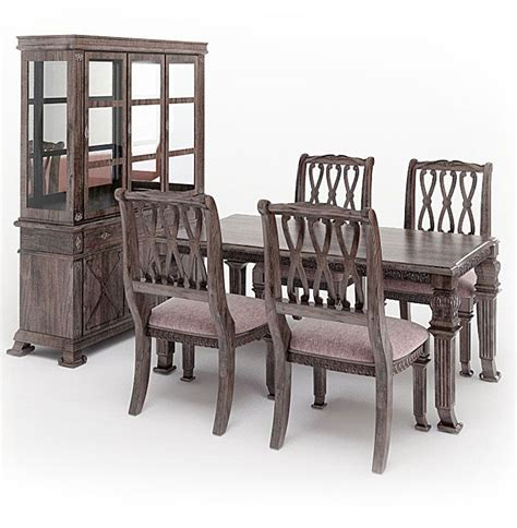 Dark Wood Dining Room Set 3d Model Cgtrader Com Black Wood Dining Room Set