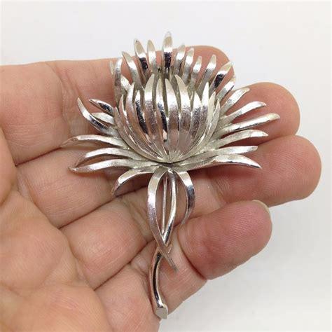 Flower Brooch vintage signed crown trifari flower brooch pin