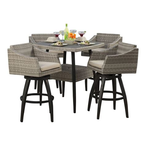 Patio Bar Height Dining Set Rst Brands Cannes 5 All Weather Wicker Patio Bar Height Dining Set With Slate Grey