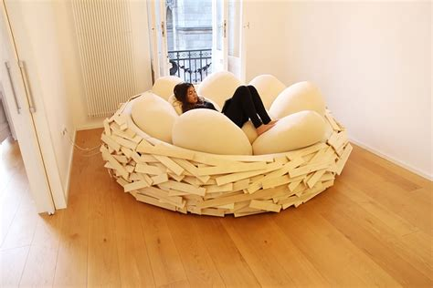 giant couch pillows giant birdnest wooden bed filled with soft egg shaped
