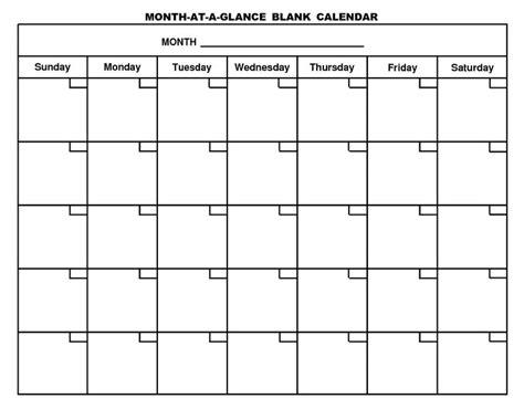 printable month   glance blank calendarpng   calendar template