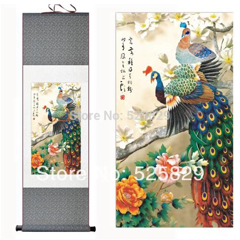 silk peacock home decor 2014 new free shipping high quality wall art home decor framed peacock peony flowers traditional
