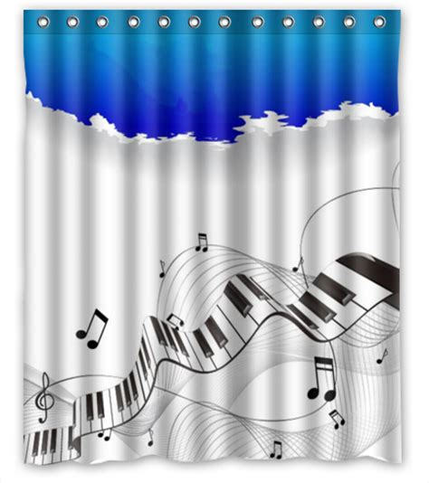 Free shipping music note custom piano shower curtain home