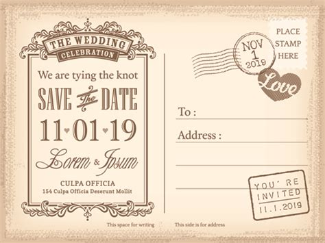 free printable wedding postcard invitations wedding invitations postcard design graphic vector 04