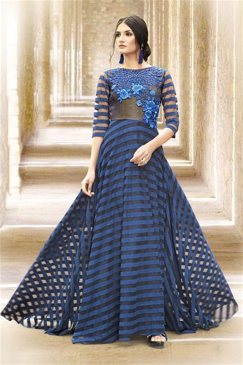 net pattern gown buy indo western style evening party wear satin net gown