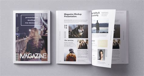 Psd Magazine Mockup Vol9 Psd Mock Up Templates Pixeden Magazine Template App