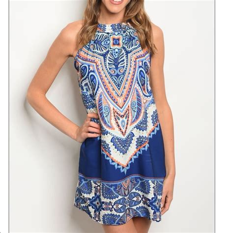 Patterned Sleeveless Dress 50 dresses skirts gorgeous blue patterned