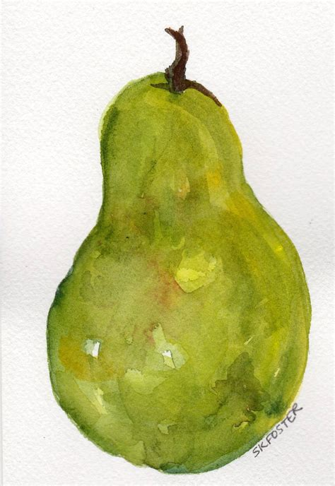pear painting green pear watercolor painting 4 by sharonfosterart