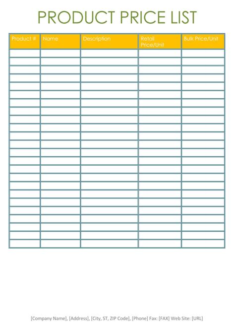 Price List Templates Free Sles And Formats For Excel Word To Buy List Template