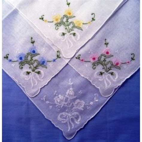 embroidery design for handkerchief floral with ribbon embroidered handkerchief
