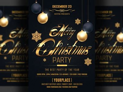 classy christmas party flyer template  hotpin dribbble dribbble
