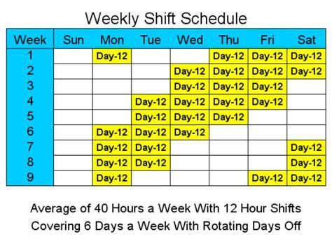 12 hour shift schedule template 12 hour schedules for 6 days a week screenshot employee