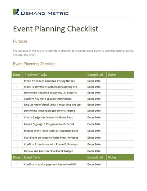 event planning checklist template images
