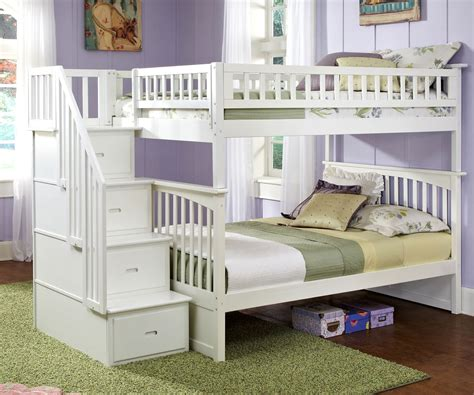 columbia full over full staircase bunk bed white bedroom
