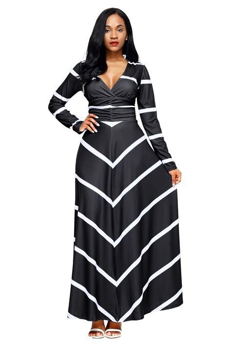 Sleeve Striped V Neck Dress stylish black striped v neck sleeve maxi dress