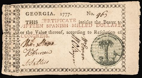 Uga Early Essay by Colonial Currency 1777 Fifteen Dollar Blue Green Se