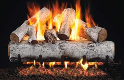 birch gas fireplace logs rh peterson designer series white birch gas logs 18 inch