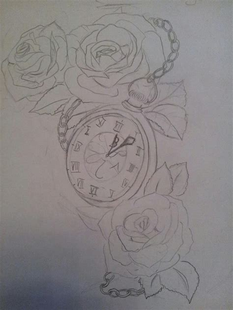 rose and clock tattoo designs roses and clock on behance