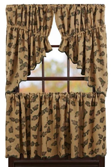 24 inch cafe curtains pine cone 24 inch tier by victorian heart the weed patch