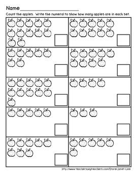 Apple Counting Worksheet by Apple Counting Math Worksheets By Janet Teachers Pay