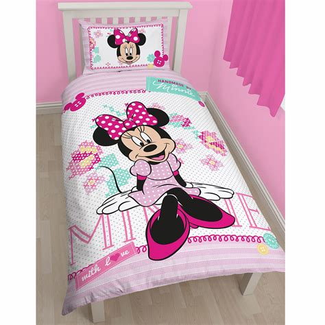 Minnie Mouse Quilt Panel Minnie Mouse Cross Stitch Pink Single Panel Duvet Cover