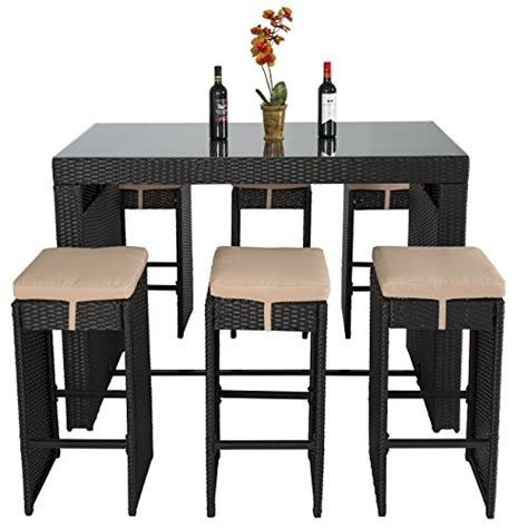 Bar Stool Dining Table Sets by Best Choice Products 7pc Rattan Wicker Barstool Dining