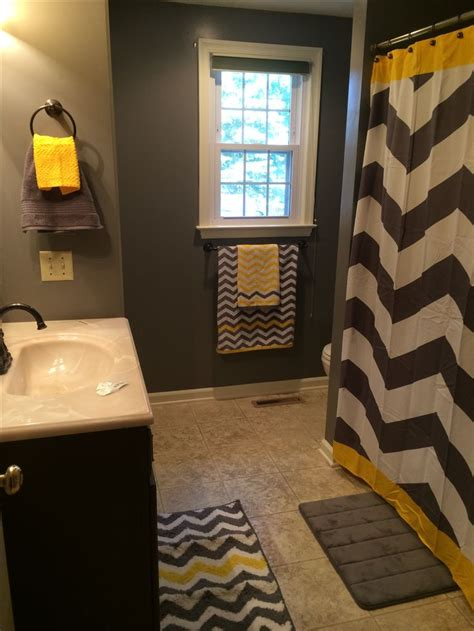 Yellow And Grey Bathroom by 25 Best Ideas About Grey Chevron Curtains On