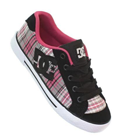 womens dc shoes chelsea battleship black pink plaid skate