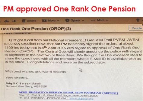 one rank one pension orop implementation tables issued table for one rank one pension table