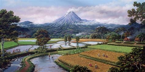 contoh gambar indah dan pemandangan yang menakjubkan gambar pemandangan gunung dan sawah lukisan pernik dunia