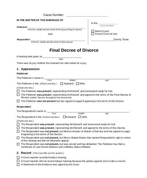 7 Sle Divorce Forms Sle Templates Divorce Decree Document Template