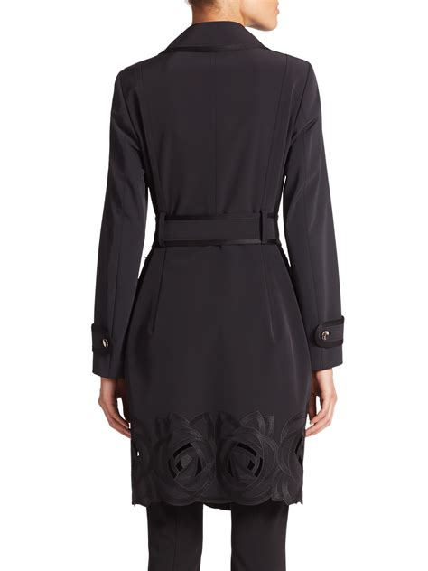 Embroidered Trench Coat escada embroidered trenchcoat in black lyst