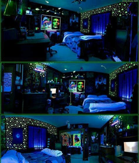 glow in the dark bedroom black light stoner room awesome rooms pinterest