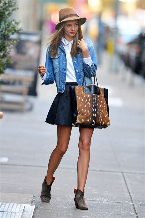 trend to try jean jackets and black skirts
