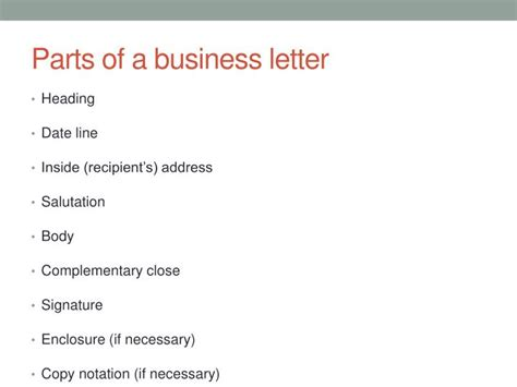Standard Parts Of Business Letter Ppt ppt technical writing powerpoint presentation id 1443823