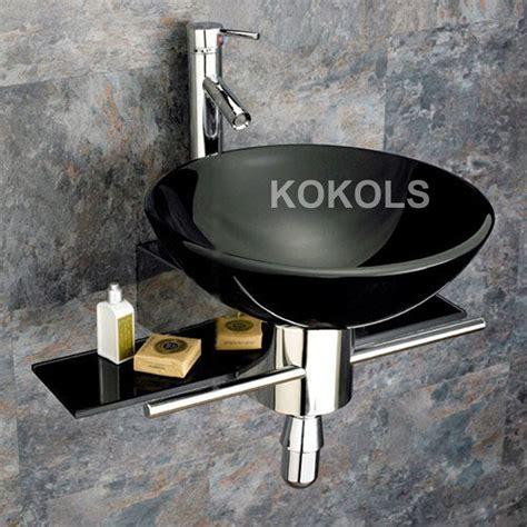 black vessel sink faucet wall mounted bathroom black tempered glass sink vanity