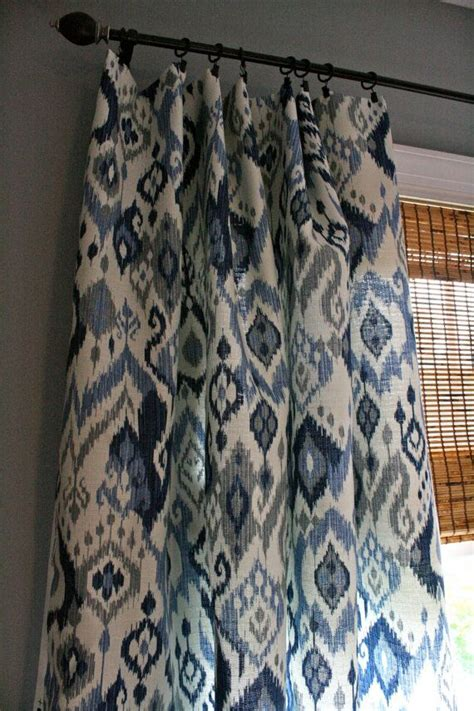 ikat curtain panel blue and white ikat curtain panel custom drapery in