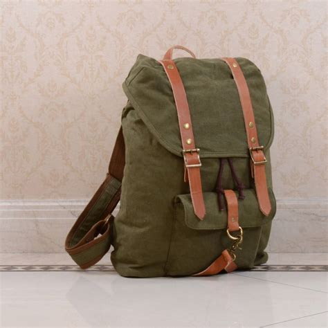 backpack with leather straps canvas and leather detail backpack by eazo notonthehighstreet