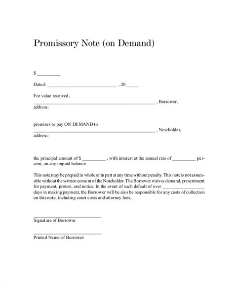 promissory note template demand promissory note sle www imgkid the image