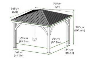 Gazebo Dimensions by Yardistry Wood Gazebo With Aluminium Roof