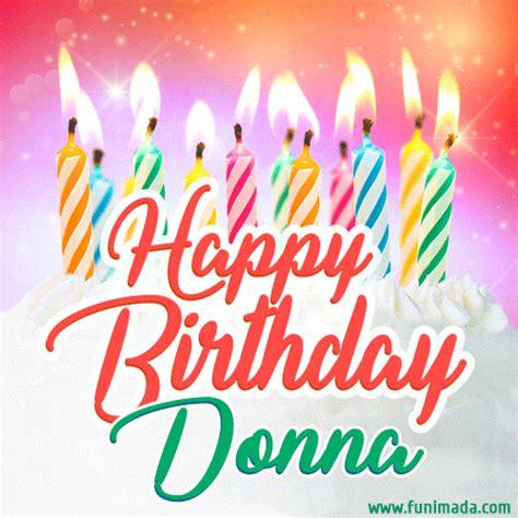 happy birthday gif  donna  birthday cake  lit candles   funimadacom