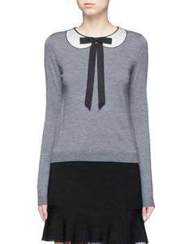 Tie Neck Collar Sweater shoptagr jensyn strass collar intarsia neck tie wool