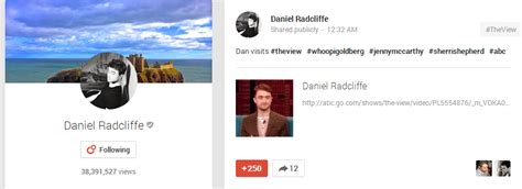 fb google daniel radcliffe post on google plus fb com