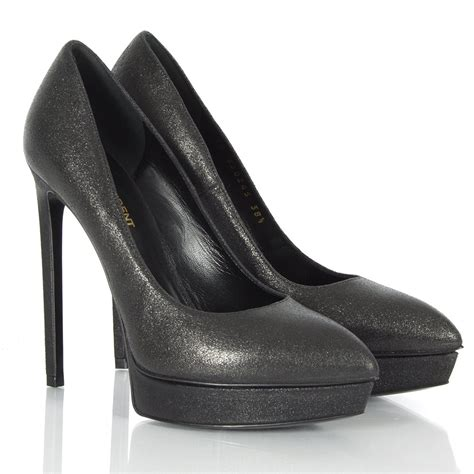 laurent black ysl shoe 14 embelished court shoes