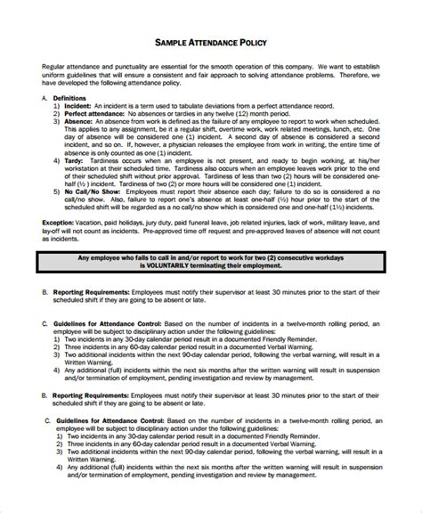 attendance policy template sle attendance policy 6 documents in pdf