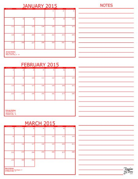 printable 3 month planner 2015 3 month calendar janu ary febru ary march 2015 red