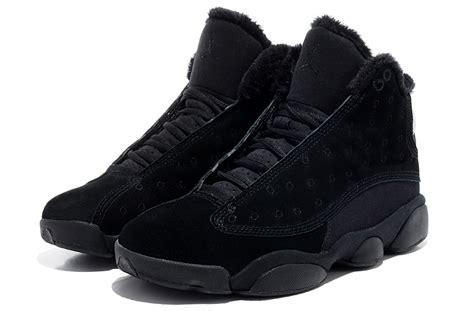 comfortable all black shoes comfortable air jordan 13 wool all black shoes naj061